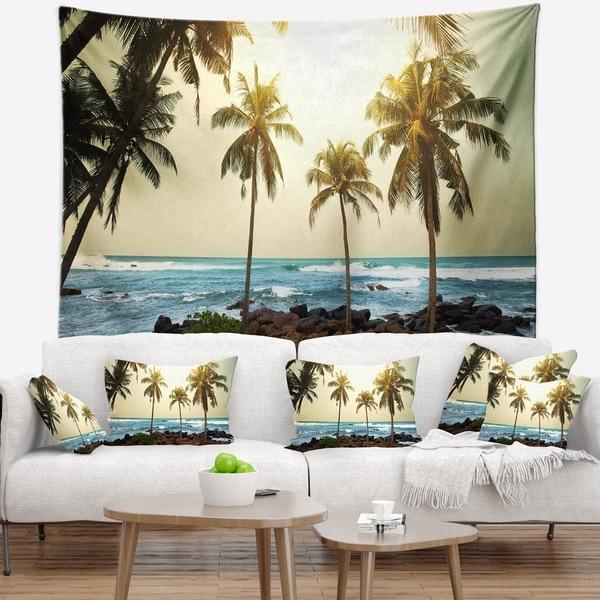 Designart 'Rocky Tropical Beach with Palms' Seashore Wall Tapestry