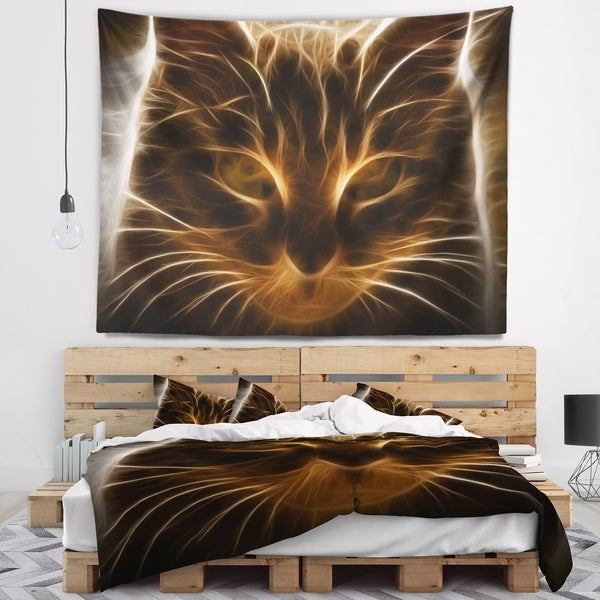 Designart 'Glowing Fractal Cat Illustration' Animal Wall Tapestry