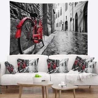 Designart 'Retro Vintage Red Bike' Cityscape Photo Wall Tapestry