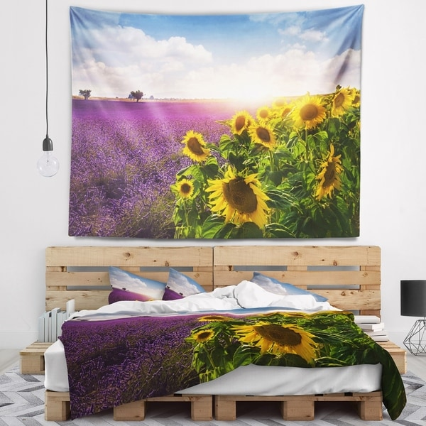 Designart 'Lavender and Sunflower Fields' Floral Wall Tapestry
