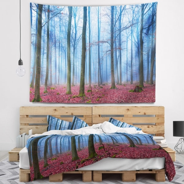 Designart 'Foggy Forest in Blue and Pink Photo' Modern Forest Wall Tapestry