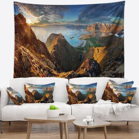 Designart 'Ocean and Mountains Panorama' Landscape Wall Tapestry