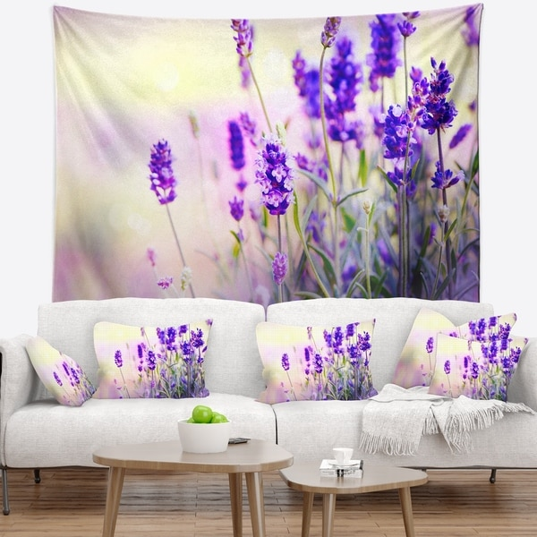 Designart 'Purple Lavender Field' Floral Photography Wall Tapestry