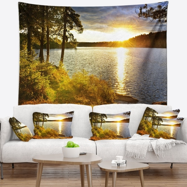 Designart 'Beautiful View of Sunset over Lake' Landscape Wall Tapestry