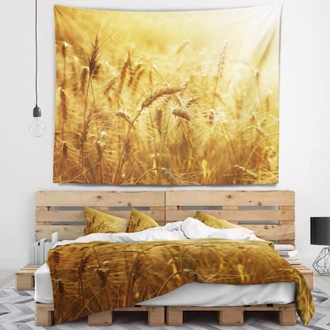 Designart 'Golden Wheat Field' Landscape Wall Tapestry
