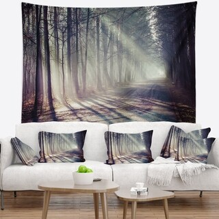 Designart 'Morning Sunbeams to Forest Road' Landscape Photography Wall Tapestry