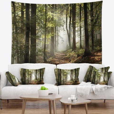 Designart 'Green Fall Forest with Sun Rays' Landscape Photography Wall Tapestry