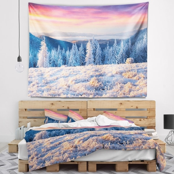 Designart 'Amazing Winter Sunrise in Mountains' Landscape Wall Tapestry