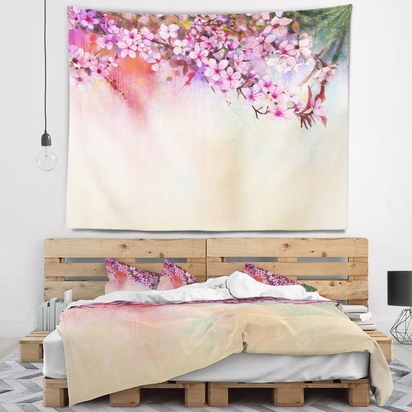 Designart 'Watercolor Painting Cherry Blossoms' Floral Wall Tapestry