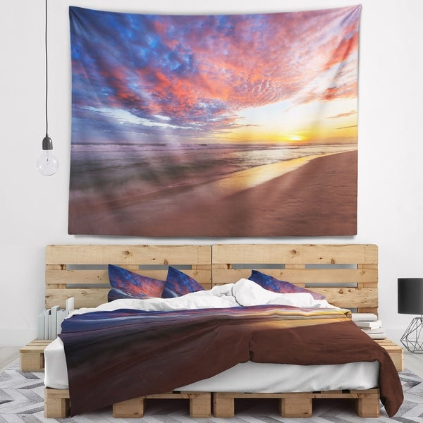 Designart 'Colored Clouds in Beach at Sunset' Seashore Wall Tapestry