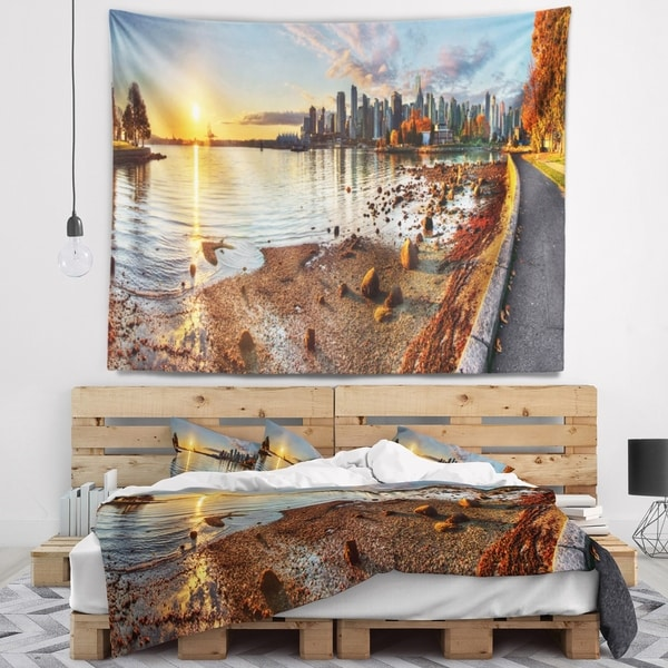 Designart 'Vancouver Downtown Panorama' Landscape Wall Tapestry