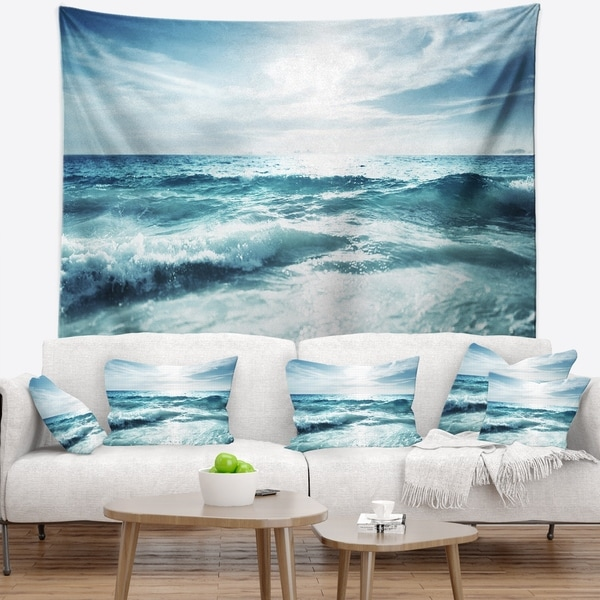 Designart 'Seychelles Beach at Sunset' Seascape Wall Tapestry