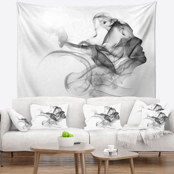 Designart 'Woman and Smoke Double Exposure' Portrait Wall Tapestry