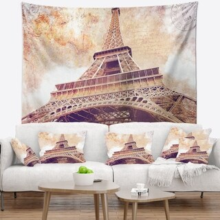 Designart 'Paris Paris Eiffel TowerParis Postcard Design' Cityscape Wall Tapestry