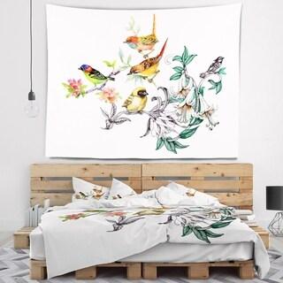 Designart 'Designart Tropical Flowers and Birds' Birds Wall Tapestry