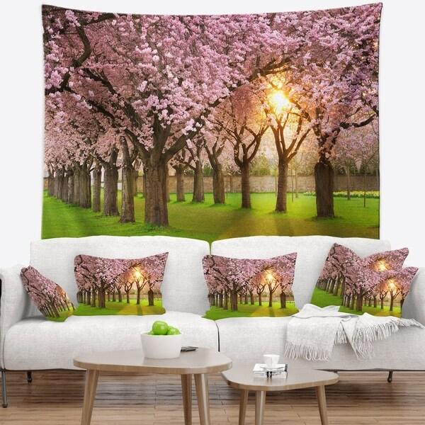 Designart 'Fascinating Springtime Cherry Scenery' Landscape Wall Tapestry