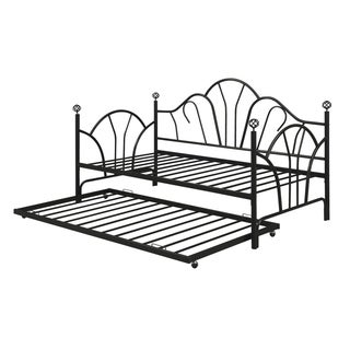 Modern Metal Twin Trundle With 14 Slats, Black