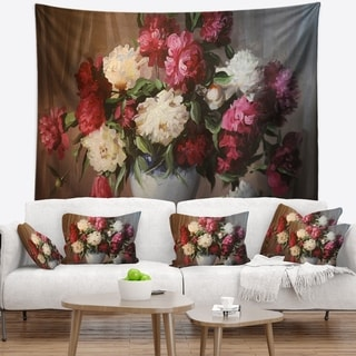 Designart 'Bouquet of Blooming Peonies' Floral Wall Tapestry