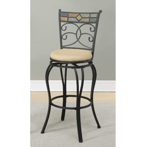 29 Inch Metal Swivel Barstool With Footrest Black Set Of 2