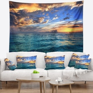 Designart 'Exotic Tropical Beach at Sunset' Modern Seashore Wall Tapestry