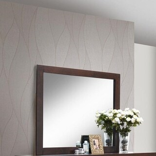 Trimmed Mirror with Solid Wooden Frame Brown - N/A