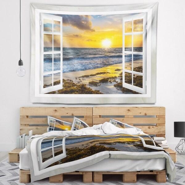 Designart 'Open Window to Bright Yellow Sunset' Modern Seascape Wall Tapestry