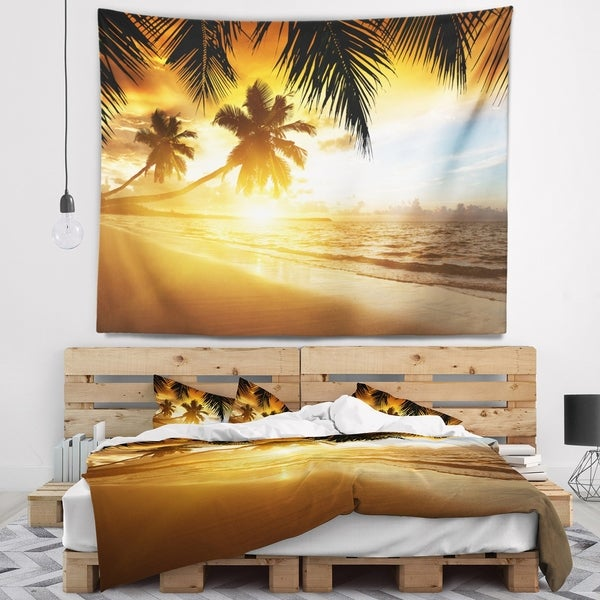 Designart 'Sunset over Caribbean Sea' Photography Wall Tapestry