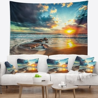 Designart 'Beautiful Cloudscape over the Sea' Modern Beach Wall Tapestry