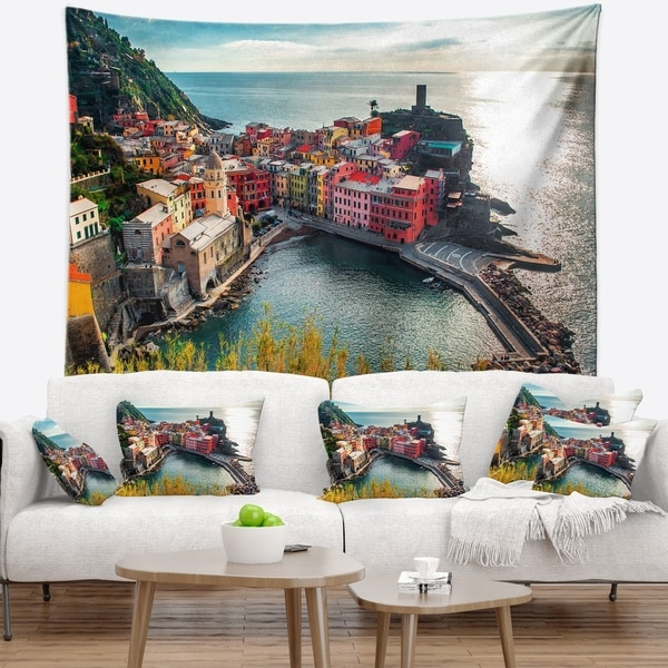 Shop Designart Vernazza Bay Aerial View Seascape Wall Tapestry