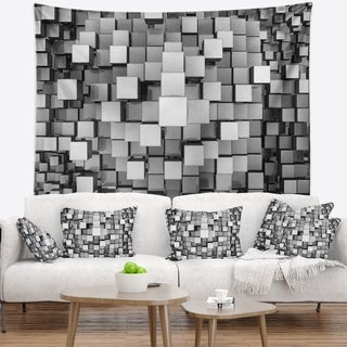 Designart 'Black and Grey Cubes' Contemporary Wall Tapestry