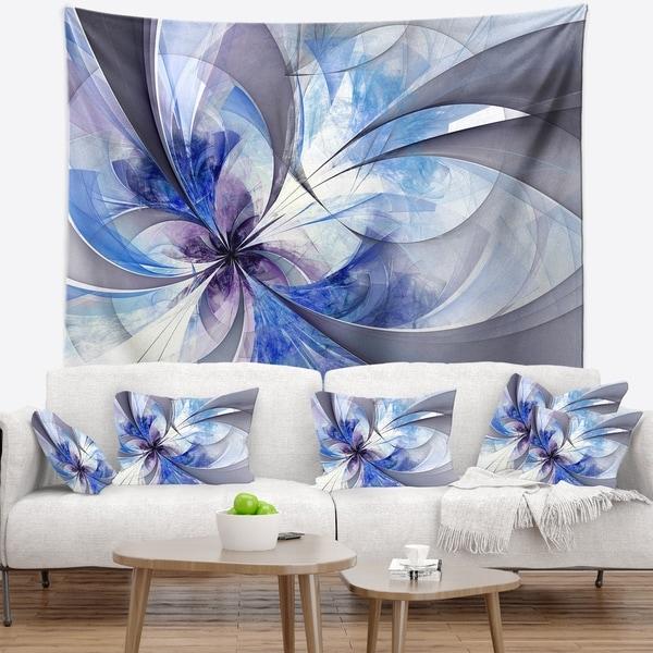 Designart 'Blue Large Symmetrical Fractal Flower' Floral Wall Tapestry