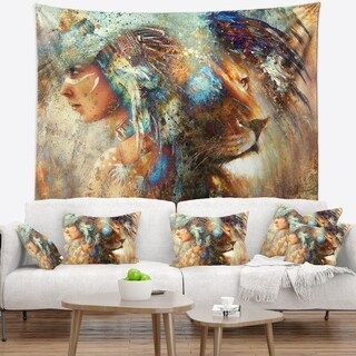 Designart 'Indian Woman Collage with Lion' Indian Wall Tapestry