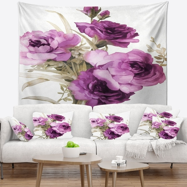 Designart 'Bunch of Purple Flowers' Floral Wall Tapestry