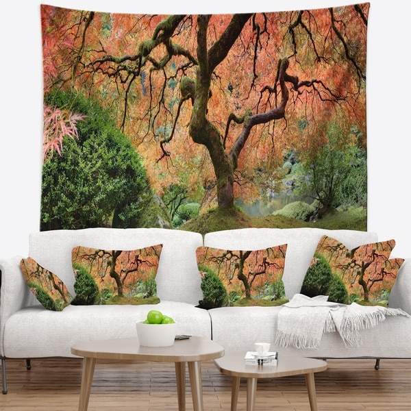 Designart 'Old Japanese Maple Tree' Landscape Photography Wall Tapestry