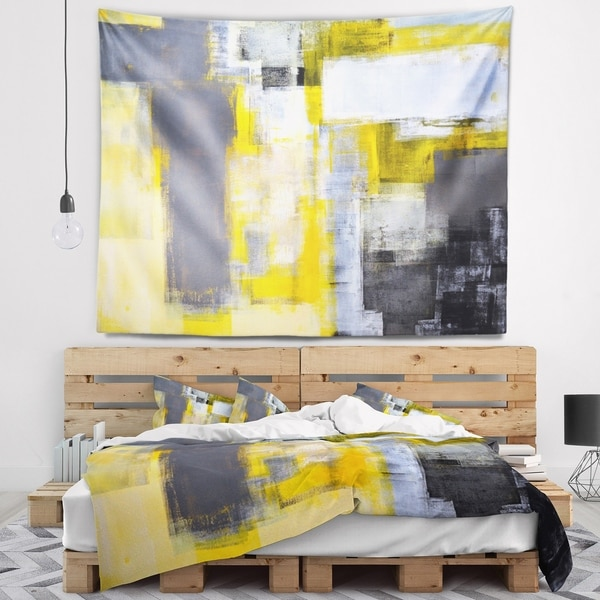 Designart 'Grey and Yellow Blur Abstract' Abstract Wall Tapestry