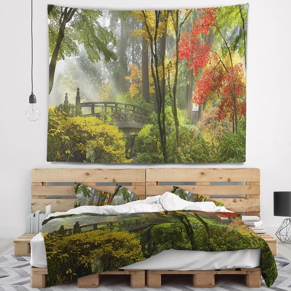 Designart 'Japanese Wooden Bridge in Fall' Photography Wall Tapestry