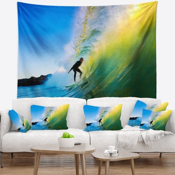 Designart 'Surfer Beating Green Waves' Photography Wall Tapestry
