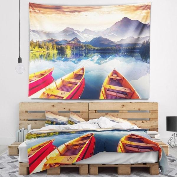 Designart 'Boats Heading to Lake' Landscape Wall Tapestry