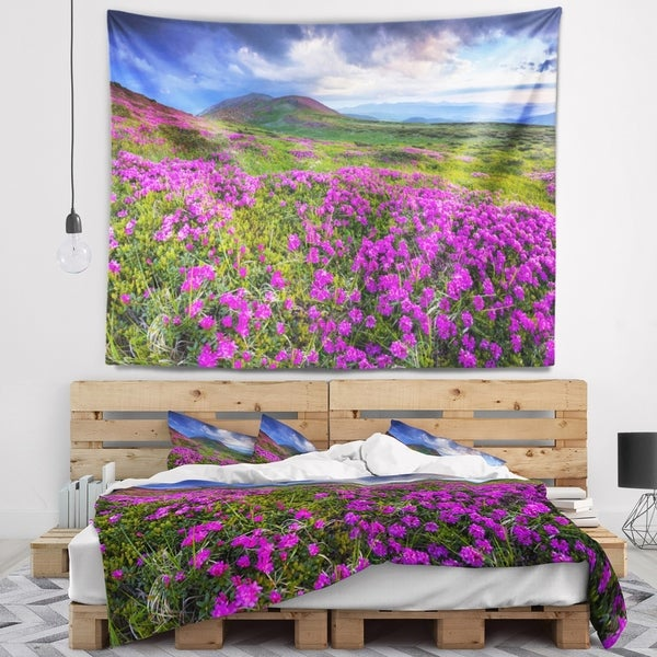 Designart 'Rhododendron Flowers in Mountains' Landscape Photography Wall Tapestry