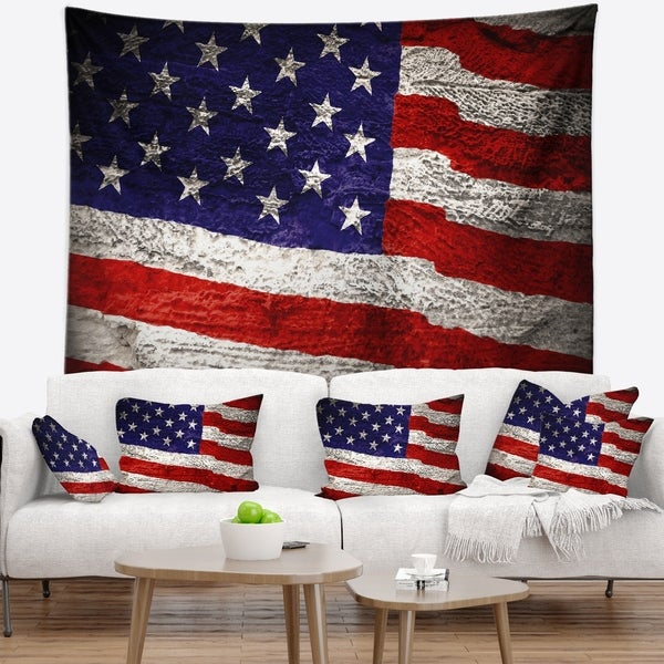 Designart 'Large American Flag Watercolor' Abstract Wall Tapestry