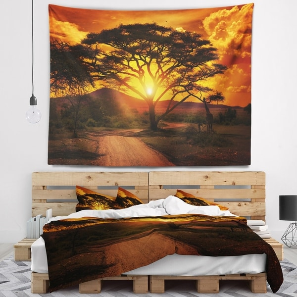 Designart 'African Sunset with Lonely Tree' African Landscape Wall Tapestry