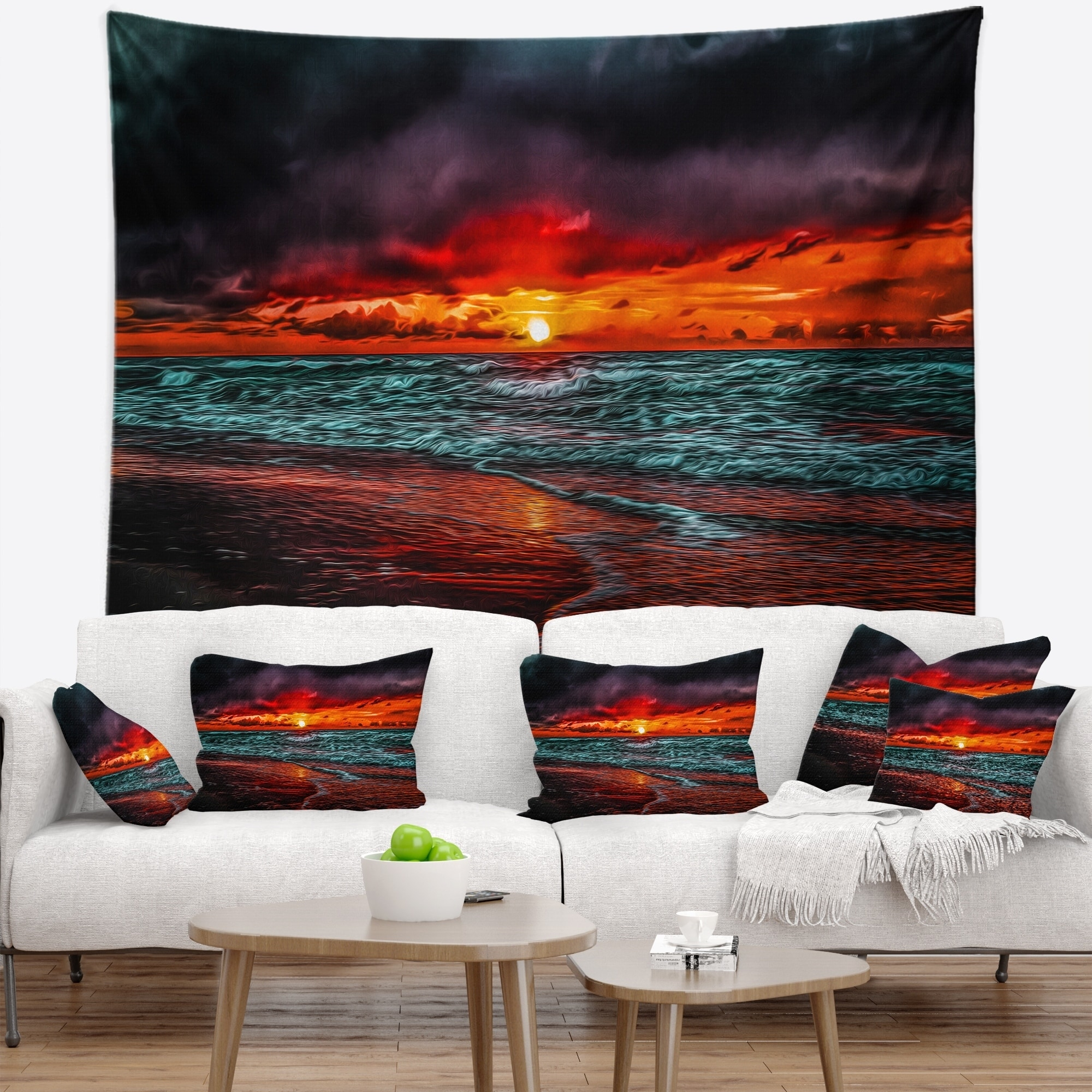 Designart Red Sunset Over Blue Waters Seascape Wall Tapestry Overstock 20886792