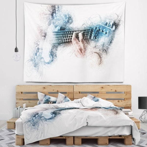 Designart 'Man Playing A Guitar Watercolor' Contemporary Wall Tapestry