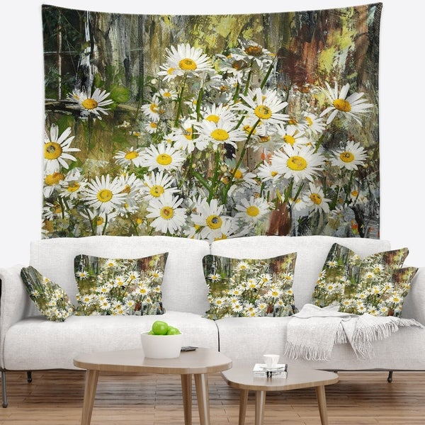 Designart 'Daisies Flowers Under the Window' Floral Wall Tapestry