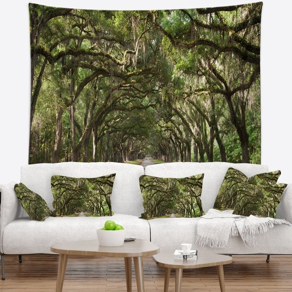 Designart 'Live Oak Tunnel' Photography Wall Tapestry