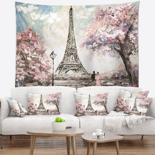 Designart 'Eiffel with Pink Flowers' Landscape Wall Tapestry