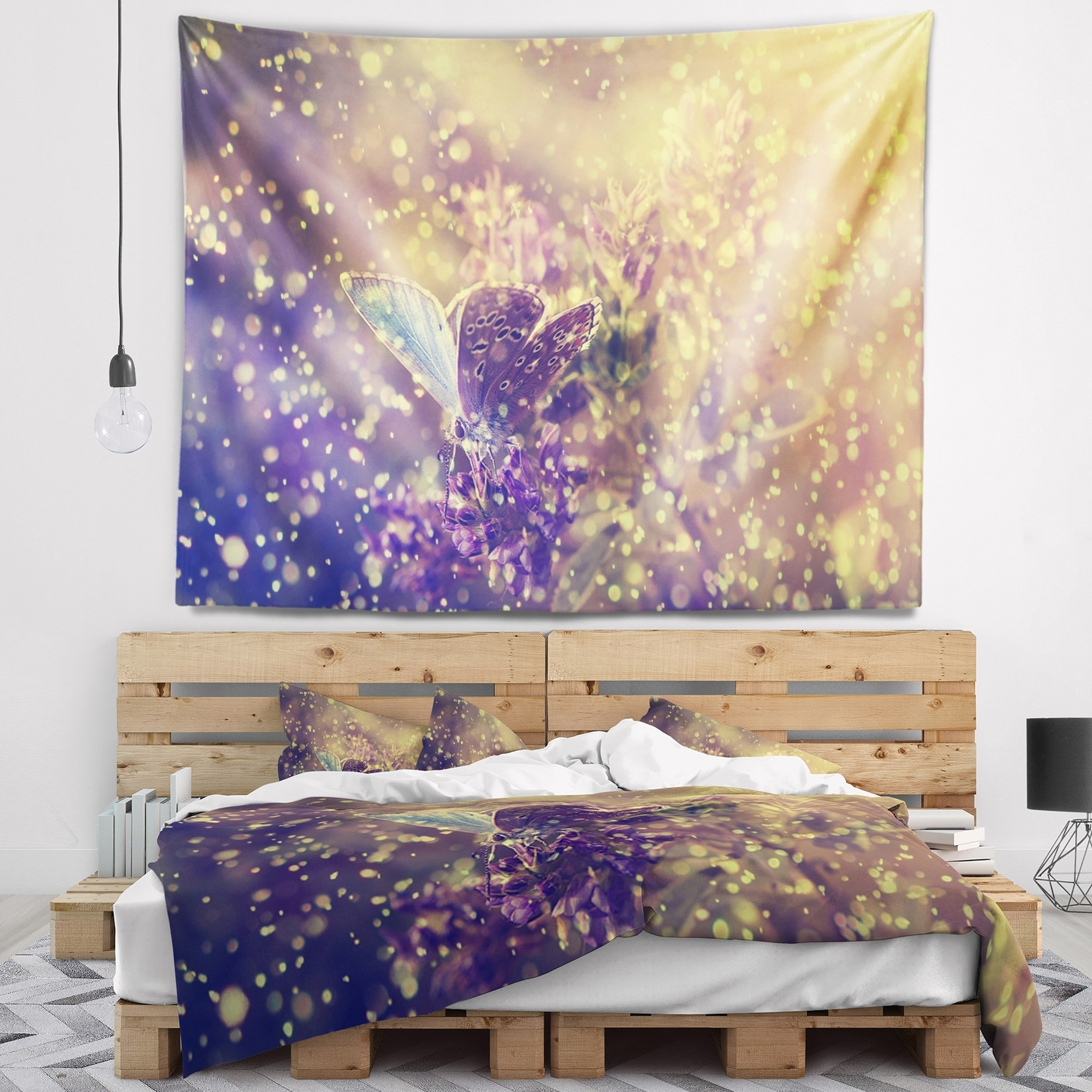 Designart Blue Butterfly And Purple Flowers Floral Wall Tapestry Overstock 20886983