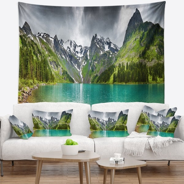 Designart 'Mountain Lake Panorama' Photography Wall Tapestry
