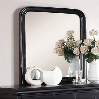 Alluring Polyresin Mirror With Solid Frame, Black - A/N
