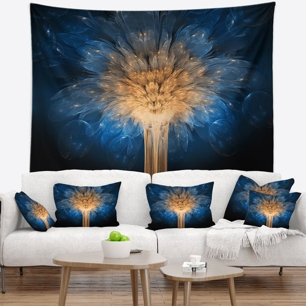 Designart 'Fractal 3D Blue Dragon Flower' Contemporary Wall Tapestry